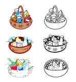 Baskets. Vector illustrarion of stylized baskets with food stock illustration