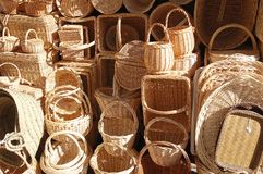 Baskets 2. Wicker baskets exposed for sale in Segovia, Spain Stock Photo