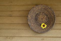 Baskets. With the flower baskets hung on the wooden paneling Royalty Free Stock Photos