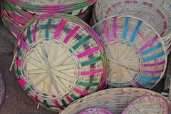 Baskets. Bamboo baskets in random, India Royalty Free Stock Photos