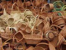 Baskets. Wicker baskets royalty free stock photo