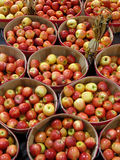 Baskets of apples. At a market royalty free stock photo