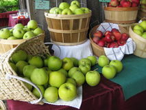 Baskets of Apples. A variety of apples are on display at a local farm stand Stock Photography