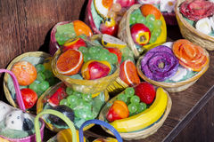 Baskets with artificial fruits Stock Photos
