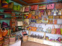 Colorful craft shop in africa royalty free stock images