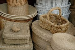 Baskets in Baskets. Pile of baskets stock photos