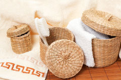 Baskets with bath accessories royalty free stock image