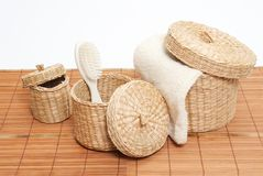 Baskets with bath accessories royalty free stock images