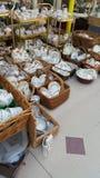 Baskets of china crockery Royalty Free Stock Photo
