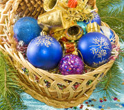 Baskets with Christmas decorations Stock Image