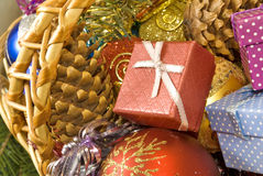 Baskets with Christmas decorations closeup Stock Photo