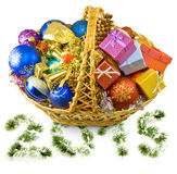 Baskets with Christmas decorations Royalty Free Stock Photo