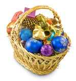 Baskets with Christmas decorations Stock Photos