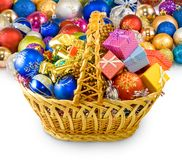 Baskets with Christmas decorations on a white background Royalty Free Stock Photos