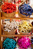 Baskets with colored sea stars Stock Photo