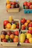 Baskets of colorful tomatoes on burlap Stock Photos