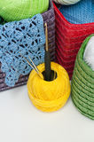 Colorful yarn for knitting in colorful baskets Stock Photos