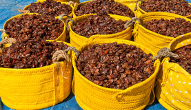 Baskets of Dates. For sale at a market in the middle east Royalty Free Stock Photo