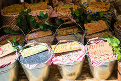Baskets of Dried Beans in Market Royalty Free Stock Photography