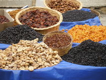 Baskets of dried fruits Stock Photo