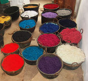 Baskets with dyed in a traditional way wool yarn. Old dyeing house, La Granja, Mallorca Royalty Free Stock Photos