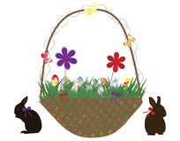 Baskets with eggs. Vector illustration of baskets with eggs and rabbits Royalty Free Stock Images