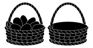 Baskets, empty and with eggs, silhouettes Stock Photo