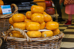 Baskets with famous traditional Dutch cheese Royalty Free Stock Images