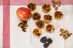 The baskets with filling nuts and dried fruits Royalty Free Stock Images