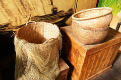 Baskets and fishing net royalty free stock photo
