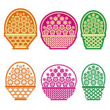 Baskets of flowers. Stylized baskets of flowers  on white background Royalty Free Stock Images