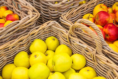 Baskets with fresh apples Royalty Free Stock Photography