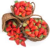 Baskets of fresh ripe strawberries Royalty Free Stock Image