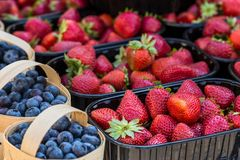 Baskets Of Fresh Strawberries In A Street Market Royalty Free Stock Image