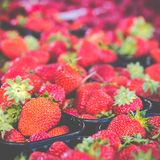 Baskets Of Fresh Strawberries In A Street Market Royalty Free Stock Photo