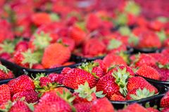 Baskets Of Fresh Strawberries In A Street Market Royalty Free Stock Images