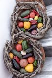 Baskets with fresh vegetables and fruits in Fira, Santorini Royalty Free Stock Images