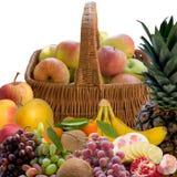 Baskets with fruit. Apple  Grapes  Plum  Fruit  Crude  Basket  Ripe  Sweet  Product  Fruit Stock Photography
