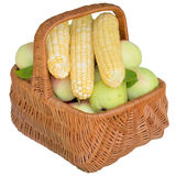 Baskets with fruit and vegetables. Stock Photo