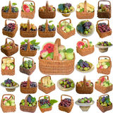 Baskets with fruit and vegetables. Royalty Free Stock Photography
