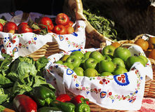 Baskets of fruits and vegetables. In a street market Royalty Free Stock Images
