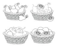 Baskets with fruits and vegetables, outline. Set wattled baskets with fruits and vegetables: pears, apples, tomatoes and kiwifruits, black contour Royalty Free Stock Image