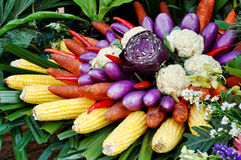 Baskets of fruits and vegetables Royalty Free Stock Image