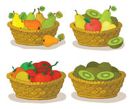 Baskets with fruits and vegetables Royalty Free Stock Photography