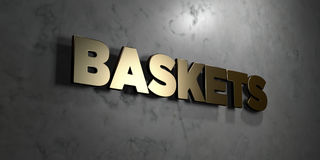 Baskets - Gold sign mounted on glossy marble wall  - 3D rendered royalty free stock illustration Royalty Free Stock Image