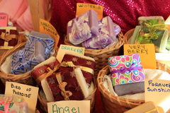 Baskets of handmade soaps Royalty Free Stock Photos