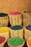 Old spice market medina marrakech. Baskets with different kind of spices. Colorful food ingredients. Baskets with herbs. Royalty Free Stock Images