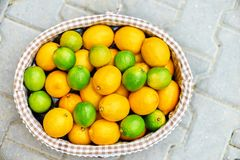 Baskets with lemons in outdoors market of Sorrento, Italy. Baskets with lemons on the open market of Sorrento, Italy. top view Stock Photo