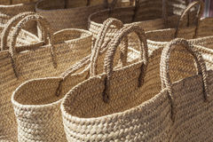 Baskets made of cattail fibers Royalty Free Stock Photography