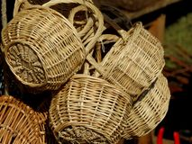 Baskets made by handwork. Stall of baskets on a market place Stock Photography